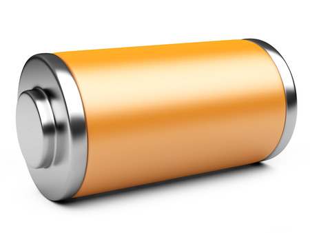 ampere: 3D illustration of orange battery isolated on a white background