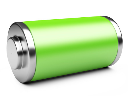 3D illustration of green battery isolated on a white background Archivio Fotografico
