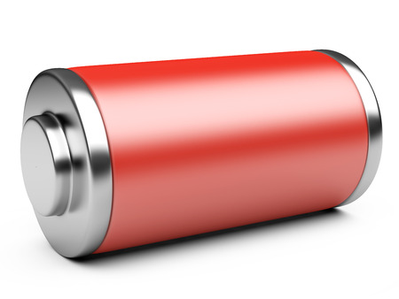 recharge: 3D illustration of red battery isolated on a white background