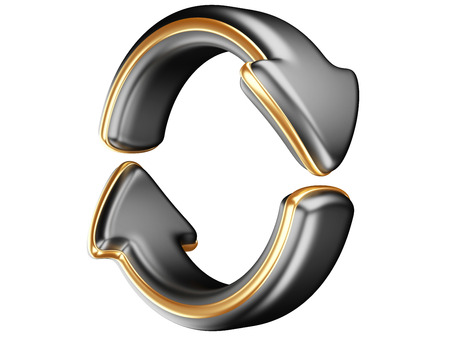 Two circular arrows. Recycle symbol isolated on white. 3D Arrows icon.  photo