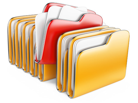 Folders and files. Storage information concept. 3D illustration isolated on a white. Stock fotó