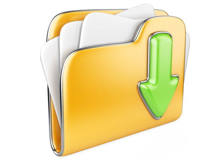 Download folder icon. Transferring information concepts. 3d illustration over white. illustration