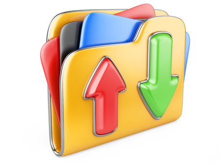 transferring: Download - upload folder icon. Transferring information concepts. 3d illustration over white. Stock Photo