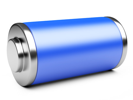 battery charger: 3D illustration of blue battery isolated on a white background Stock Photo