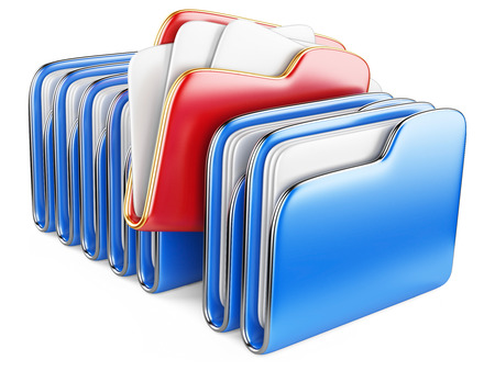 Folders and files. Storage information concept. 3D illustration isolated on a white. illustration