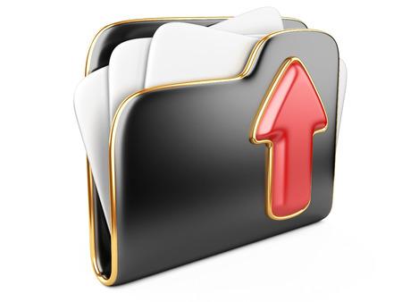 transferring: Upload folder 3d icon.  Transferring information concepts. 3d illustration over white.