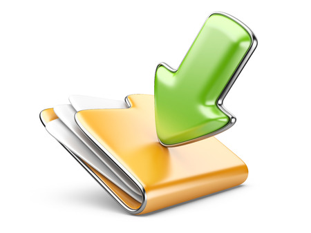 Download folder icon. Transferring information concepts. 3d illustration over white.