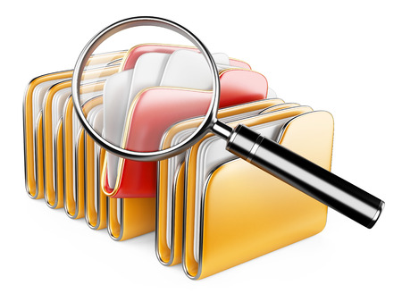 Folders and files search icon - folders under the magnifier. 3d illustration isolated on white Stock fotó