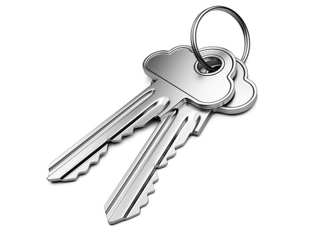 Cloud computing security concept.  Metal key with cloud shape handle isolated on white background. photo
