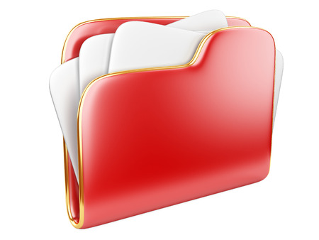 Red Folder icon with paper isolated on white.  photo