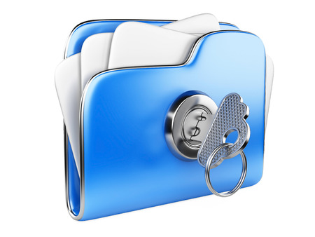 classified: Secure files. Folder with Key in cloud shape handle. Stock Photo