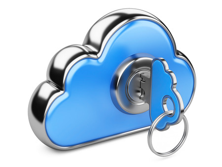 remote access: Cloud with key on white. Cloud computing security concept. Isolated 3D image Stock Photo
