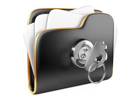 secure files: Secure files. Folder with Key in cloud shape handle. Stock Photo