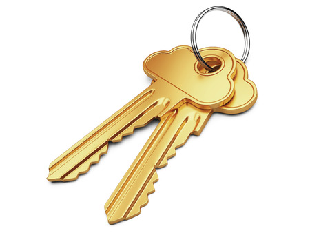 Cloud computing security concept. Gold key with cloud shape handle isolated on white. photo