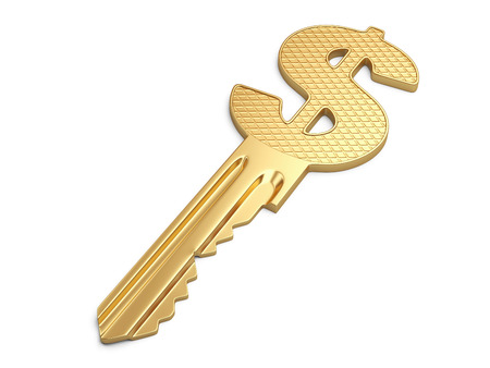 key to success: Success key with dollar symbol isolated on white.