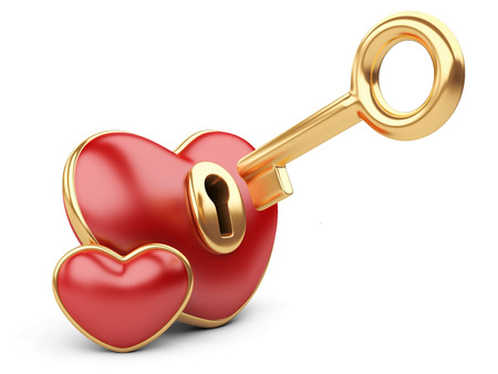 red valentine heart  with a keyhole and key.  photo