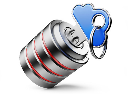 private server: Information privacy concept in cloud   Metal key with blue cloud shape handle isolated on white Stock Photo