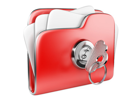 encrypted: Secure files. Folder with Key in cloud shape handle. Stock Photo