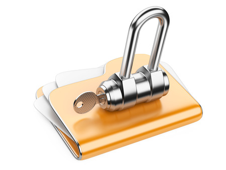 Secure files. Folder with Key in cloud shape handle. photo