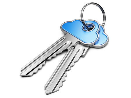 Cloud computing security concept.  Metal key with blue cloud shape handle isolated on white photo