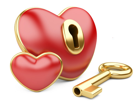 gold keyhole: red valentine heart  with a keyhole and key. Isolated on white Stock Photo