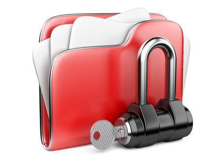 Secure files. Folder with Key in cloud shape handle. Stock fotó