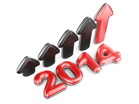 upturn: 3D arrow with year 2014 growth upward, isolated on a white background Stock Photo