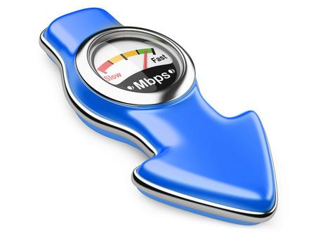 Download snelheidsmeter en pijl teken. Internet verbindingssnelheid concept. 3D-afbeelding op een witte achtergrond Stockfoto