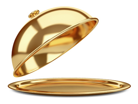 gold Restaurant cloche with open lid. 3d illustration isolated on a white background