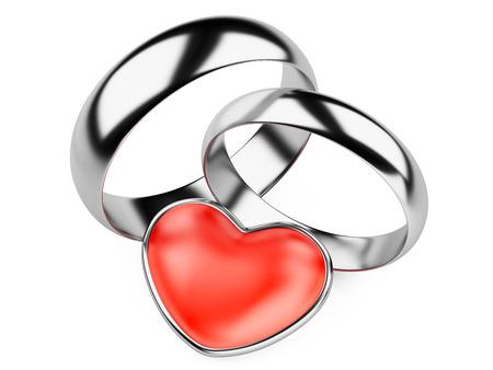 bodas de plata: los anillos de bodas de plata y rojo corazón. Aislados en fondo blanco imagen 3D