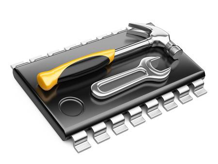 Centrale processor eenheid concept. CPU met gereedschap. 3d render geïsoleerd op een witte achtergrond