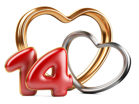 red inscription 14 and two golden hearts shape. 3d an illustration isolat on a white background illustration