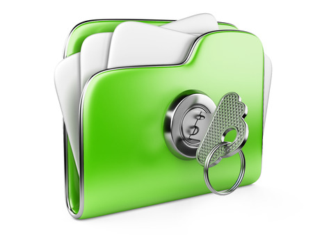 secure files: Secure files. Green folder with Key in cloud shape handle. ecological concept Stock Photo