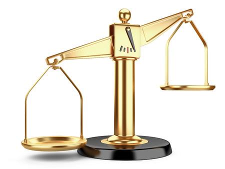Goldene Waage der Gerechtigkeit oder eine medizinische Waagen isoliert auf weißem Hintergrund