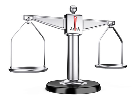Silver scales of justice or a medical scales  isolated on white background