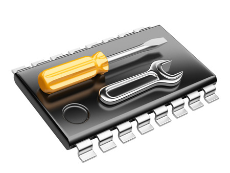 Central Processor unit concept. CPU with tools. 3d render isolated on a white background photo