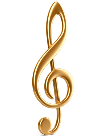 Gold music note. isolated on a white background.