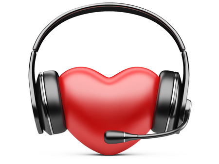 Red heart with earphones and microphone.  photo