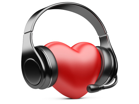 Red heart with earphones and microphone. 3d illustration isolated on a white background. illustration