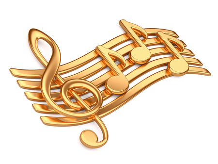 baclground: Golden musical notes. 3d illustration on a white baclground
