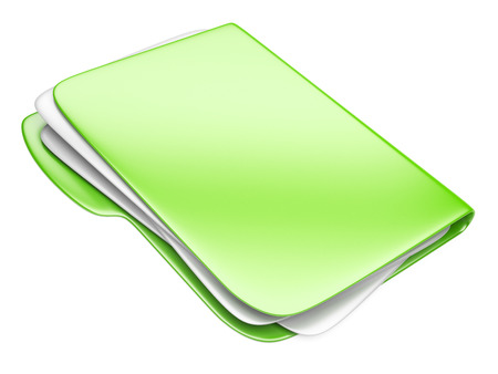 folder icons: Green Folder icon, eco concept isolated on white.
