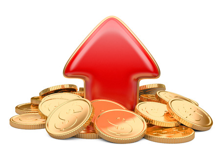 increment: Red arrow upward and golden coins, business concept isolated on a white background Stock Photo