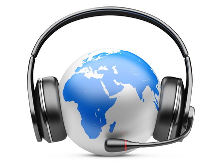 Earth planet with earphones and microphone. 3d illustration isolated on a white background. illustration