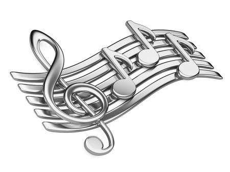 baclground: Metallic musical notes. 3d illustration on a white baclground Stock Photo