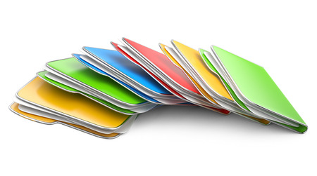 dir: Folders and files. Storage information concept. 3D illustration isolated on a white. Stock Photo