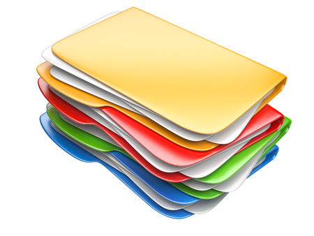 Folders and files. Storage information concept. 3D illustration isolated on a white. Stock Photo