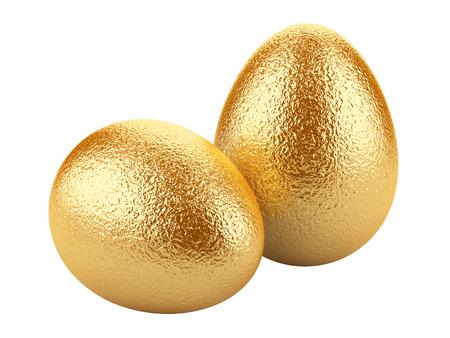 Golden easter eggs isolated on white background. Stock fotó