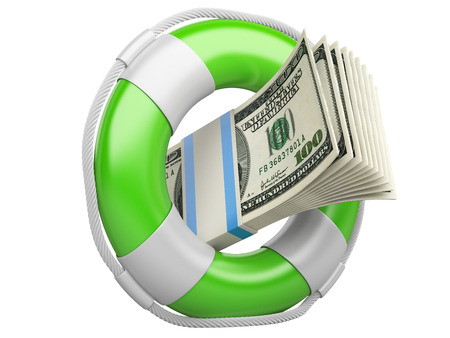 Life buoy with dollars. 3d illustration isolated on a white background