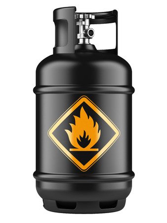 gas cylinder: Black propane cylinders with compressed gas isolated on a white background