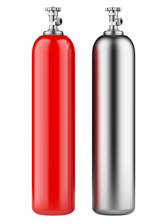 red and metallic propane cylinders with compressed gas isolated on a white background photo